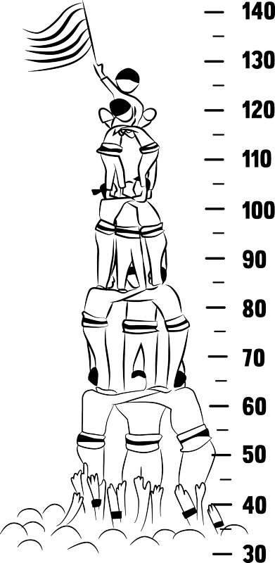 TenVinilo. Vinilo infantil medidor castellers. Vinilos para habitación infantil con el dibujo de un castillo humano acompañado de un medidor.