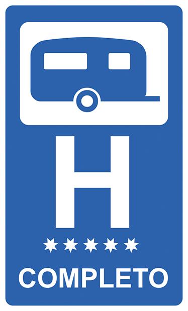 TenStickers. Adesivo per caravan hotel completo. Adesivo per caravan con un disegno basato sulla segnaletica degli hotel. Adesivo rettangolare ideale per gli amanti delle roulottes.