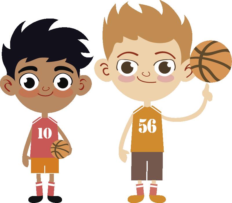 TenStickers. 농구 대단하다 벽 스티커. 스포츠 스티커-두 친한 농구 선수의 그림. 팬 및 스포츠 관련 조직에 이상적입니다.