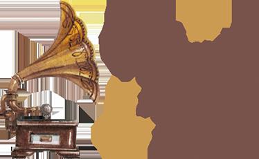 """TenStickers. Wall Sticker Musica Anima. Adesivo che raffigura un grammofono antico e molto elegante con la scritta """"La musica è l'armonia dell'anima"""""""