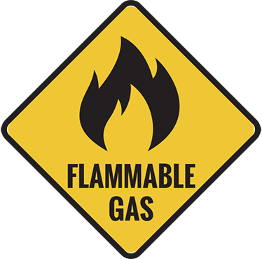 TenStickers. Flammable Gas Sticker. The recognised sign to show that there is dangerous and flammable gas being used.