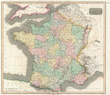 TenVinilo. Vinilo decorativo mapa 1814 Francia. Representación en vinilo fotomural de un plano antiguo de Francia para gente que desee disponer de un detallado mapa francés.