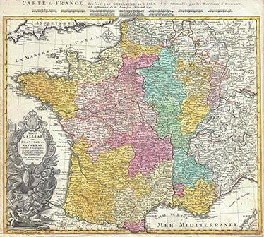 TenVinilo. Vinilo decorativo mapa de Francia siglo XVIII. Murales y vinilos con una detallada representación de un plano antiguo de Francia de 1741.