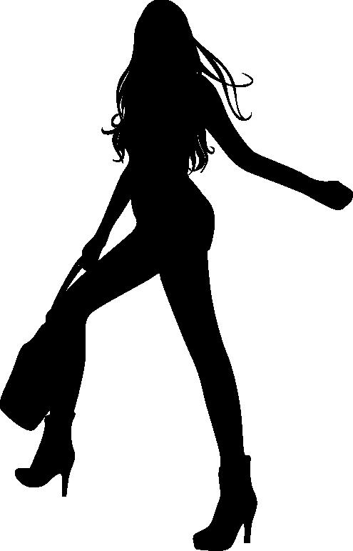 TenVinilo. Vinilo silueta de compras y feliz. Vinilo decorativo original disponible en distintas medidas y en cincuenta colores diferentes a tu elección. Silueta de una mujer de largas piernas caminando con un bolso en la mano derecha.