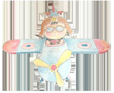 TenVinilo. Vinilo decorativo infantil piloto niño. Vinilos decorativos infantiles con un dibujo original hecho a mano de un pequeño piloto en un avión.