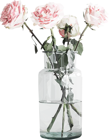 TenStickers. Clear Jar With Roses Sticker. Decorative floral decal that adds a natural and modern touch to your home. This flower wall sticker is an original and detailed illustration by LAMAI.