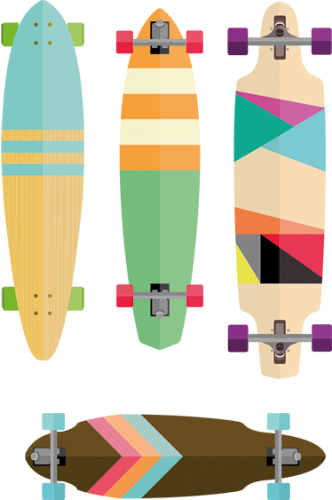 TenStickers. Colourful Skateboards Sticker. A skateboard wall sticker with a series of colourful skateboards, ideal for fans of this popular urban sport. Vibrant design that is sure to bring some colour to the walls of any teenager's bedroom.