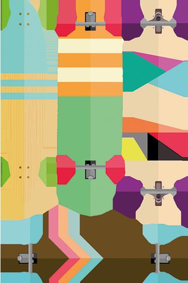 TenStickers. Geometrische Skateboards Sticker. Wandtattoo für Jugendliche, das vier bunte Skateboards in einer Reihe illustriert. Sie haben einen Skater zu Hause?