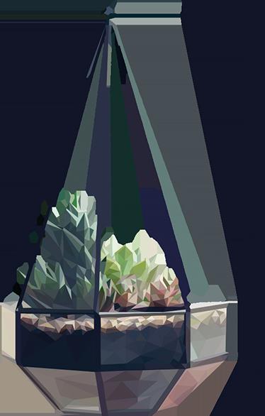 TenStickers. Topfpflanze Wandtattoo. Dieses Wandtattoo schafft die Illusion, dass von Ihren Wänden eine Pflanze mit einem modernen Topf herunter hängt.