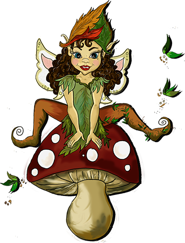 TenStickers. Pixie On A Mushroom Sticker. Children's decal with a beautiful and detailed illustration of a pixie perched happily on top of a mushroom.
