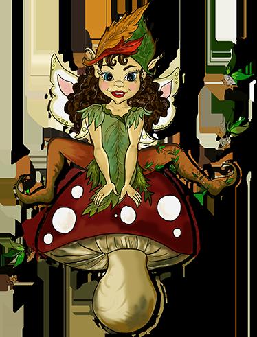 TenStickers. Elfin auf Fliegenpilz Wandtattoo. Ein Wandtattoo für Kinder, das eine kleine Elfe illustriert, die strahlend auf einem Fliegenpilz sitzt.