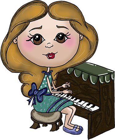 TenStickers. Pianist Illustration Sticker. From our collection of Apatino Art stickers; a little girl in a pretty dress practising playing the piano.