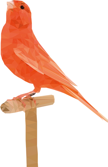 TenStickers. Bird On Perch Sticker. A beautiful sticker of a bird in warm orange tones, perched gracefully on a wooden stick.