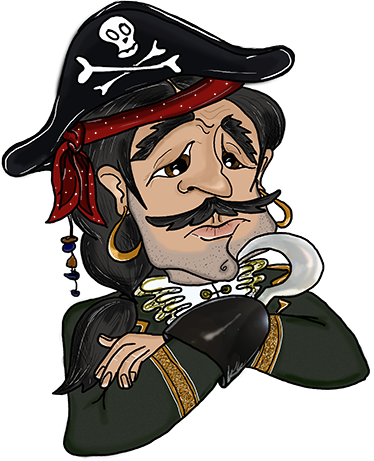 TenStickers. Children's Pirate Sticker. Children's sticker with an original illustration of a pirate captain who seems upset or disheartened.