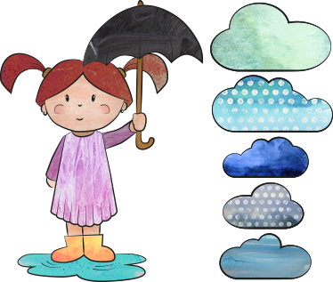 TenStickers. Girl In A Puddle Sticker. Children's sticker with an original design by tenstickers.co.uk of a girl with an umbrella in the rain.