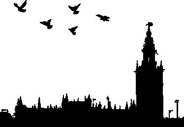 TenStickers. Silhouette Sevilla Wandtattoo. Dekoratives Wandtattoo, das die Silhouette der Stadt Sevilla mit den der symbolträchtigsten Gebäuden darstellt.
