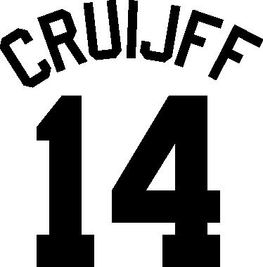 TenStickers. Muursticker Johan Cruijff Nummer 14. Geweldige muursticker van een van 's wereld bekendste voetballers, Johan Cruijff. Kleuren en afmetingen aanpasbaar. Snelle klantenservice.