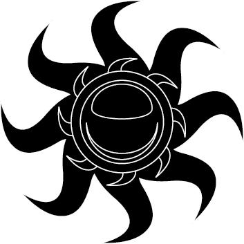 TenStickers. Sticker decorativo sole a spirale 2. Adesivo murale che raffigura un sole con una doppia corona di raggi che ruotano a spirale. Un'idea originale per decorare il soggiorno o la camera da letto.