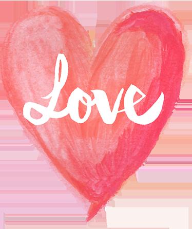 Water Colour Love Heart Sticker Tenstickers