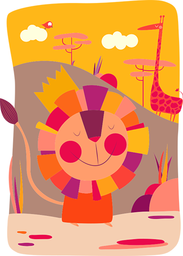 TenStickers. Lion King Kids Sticker. Colourful children's sticker with a happy and smiling lion in an African savannah setting.