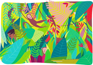 TenStickers. Jungle Scene Kids Decal. Colourful children's sticker of a fun jungle scene with swinging monkeys and beautifully bright trees.