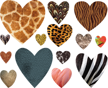 TenStickers. Animal Print Heart Stickers. Collection of heart wall stickers with different animal skins. A very unique wall sticker that shows your love for animals.