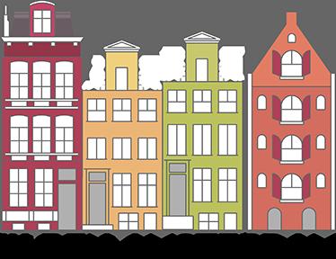 TenStickers. Amsterdam grachtenpand sticker. Houdt u van de huisjes aan de gracht in Nederland? En vindt u het leuk om Amsterdam te bezoeken? Met deze leuke sticker haalt u deze leuke grachtenpanden in huis.