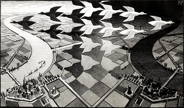 TenVinilo. Vinilo reproducción grabado Escher. Murales y vinilos para la decoración de cualquier estancia de tu casa con una fantástica imagen ilusoria.