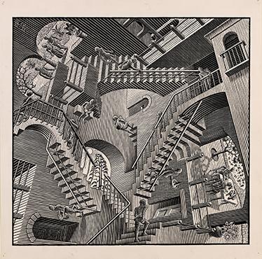 TenVinilo. Vinilo decorativo escaleras de Escher. Vinilos decorativos con una fantástica imagen ilusoria creada por el genial artista holandés M.C Escher.