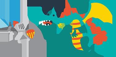 TenVinilo. Vinilo infantil Sant Jordi i el drac. Vinilos para decoración de la estancia de los más pequeños de la casa con una representación de San Jorge luchando con el dragón.