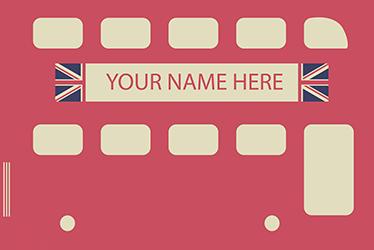 TenStickers. Muursticker Gepersonaliseerd Bus London. Een muursticker die de bekende bus van Londen Illustreert en u de mogelijkheid biedt om hier een eigen naam of tekst in toe te voegen.