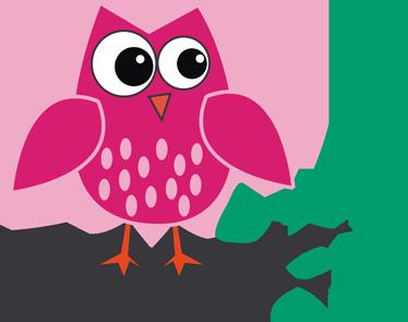 TenStickers. Růžová sova samolepka. Růžový sovětský obtisk z naší sbírky samolepek ptáků, aby zdobili malou ložnici doma. Vysoce kvalitní karikatury obtisky sovy odpočívající na větev stromu přidat dojem osobnosti na svůj domov dekor.