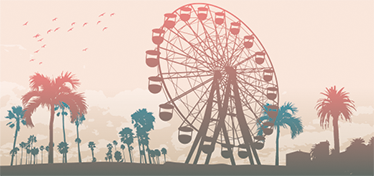 TenStickers. California State Fair Wall Mural. A wall mural with an excellent silhouette design of the California state fair, which includes the large Ferris wheel and Californian palm trees.