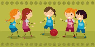 TenStickers. Kızlar basketbol takımı duvar sticker. Spor çıkartmaları - basketbol oynarken spor giyim genç kızlar. çocuklar için oyun odaları ve oyun alanları dekorasyon için ideal tasarımlar.