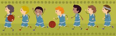 TenStickers. Autocolante infantil basquete. Autocolante infantil alusivo ao basquete! Criamos um friso decorativo com crianças a jogar basquete para a decoração quarto infantil.