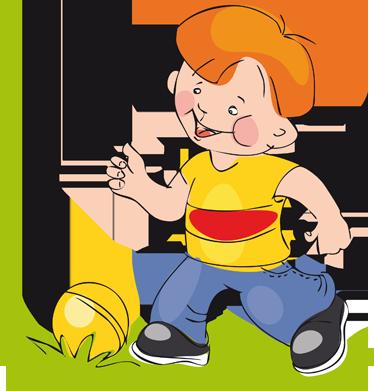TenVinilo. Vinilo infantil chico jugando con pelota. Adhesivo de un sonriente niño pelirrojo jugando en el jardín con una llamativa pelota amarilla. Entrañable estampa para decoración de habitaciones infantiles.