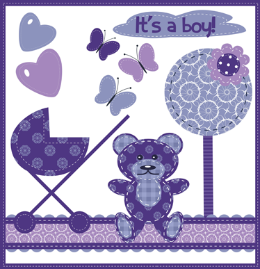 TenStickers. It's a Boy Purple Sticker. A decorative wall decal for your newborn. A fantastic design from our set of purple wall stickers to decorate their room and make them feel welcome.