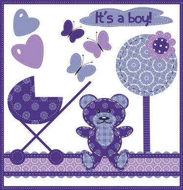 """TenStickers. Sticker knuffelbeer vlinders hartjes kind. Deze muursticker omtrent een knuffelbeer met een kinderwagen, vlinders en hartjes en de tekst """"It's a boy"""". Ervaren ontwerpteam."""