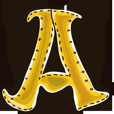 Sticker enfant dessin lettre A alphabet - TenStickers
