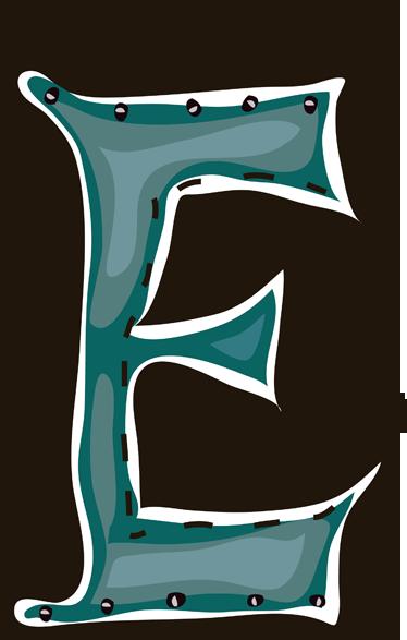 """TenStickers. Nalepka s črko e otroci. Otroške nalepke - tematsko oblikovanje po abecedi. črka """"e"""". Odličen za personalizacijo otroških sob."""