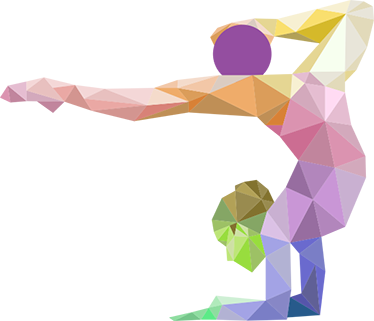 TenStickers. Origami torna falmatrica. Ragyogó geometriai kialakítás, amelyet az origami művészete ihletett. Egy hajlékony tornász képe, amely a lábán a levegőben egyensúlyoz.