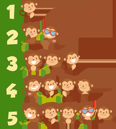 TENSTICKERS. 1〜5匹のサルのウォールステッカー. 友好的で遊び心のあるサルがいる1から5までの数字の楽しくて教育的な子供向けステッカー