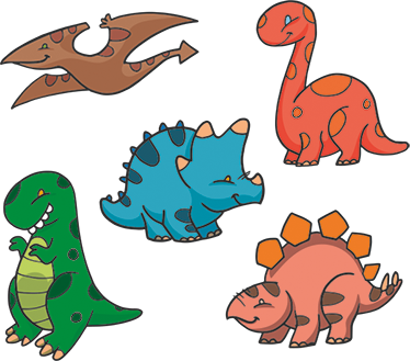 TenStickers. Mini Dinosaurs Sticker Set. A set of stickers with 5 cute looking and colourful dinosaurs with a cartoon design. Ideal touches for decorating dinosaur themed children's bedrooms.