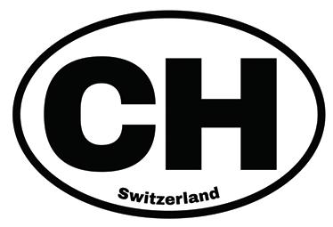 TenStickers. Aufkleber Schweiz CH. Dekorativer Aufkleber mit dem amtlichen lateinischen Namen der Schweiz - CH - und dem englischen Namen Switzerland.