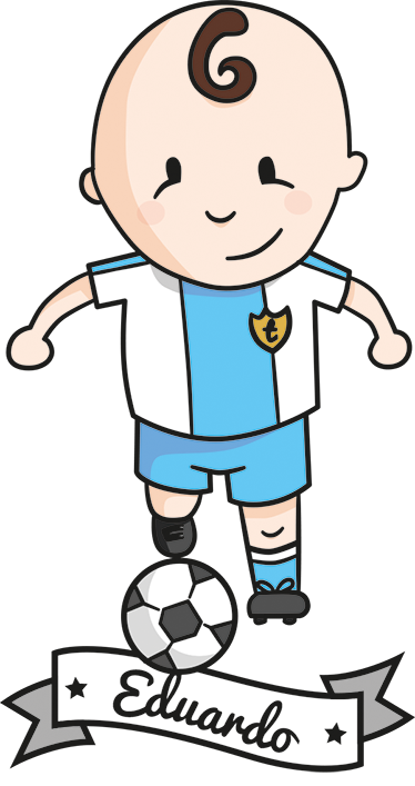 TenStickers. Kids Personalised Footballer Wall Sticker. A wall sticker with a fun cartoon illustration of a young footballer in action. Add your child's name to make this sticker more personal to them!