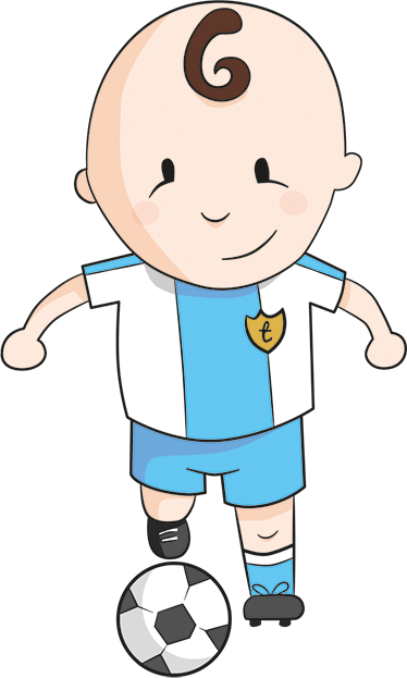 TenStickers. Young Footballer Wall Sticker. A sweet kids wall sticker with a cartoon design of a little boy playing with a football.