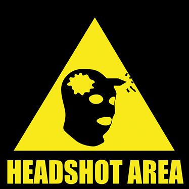 TenStickers. sticker zone headshot. sticker homme recevant une balle à la tête pour les jeux vidéo. Sticker applicable sur toutes surfaces.