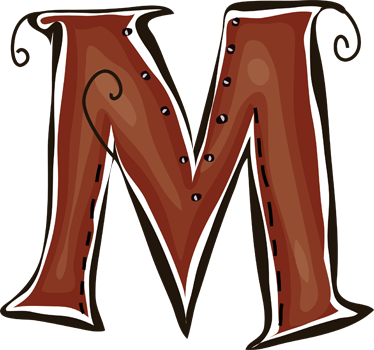 TenStickers. Sticker letter M. Deze muursticker is een vrolijk ontwerp van de letter M. Verkrijgbaar in verschillende afmetingen. Eenvoudig aan te brengen.