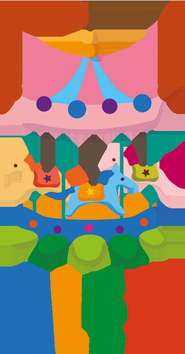 TenStickers. Gepersonaliseerd Kinderen carrousel Muursticker. Een Leuke Kinderen Muursticker ideaal voor het aanpassen van de gebruikelijke game room en de rest van de huis.