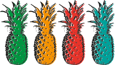 TenStickers. Pop Art Pineapple Sticker. A wall sticker with a bright and colourful pop art design of four pineapples to decorate your home in a fresh way.